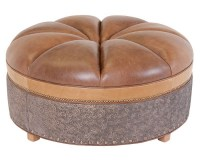 Pleated Leather Cocktail Ottoman