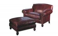 Benedict Leather Chair & A Half & Ottoman