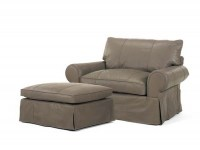 Slip Cover Leather Chair and Half & Ottoman