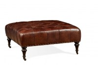 Dillon Leather Cocktail Ottoman In Chocolate