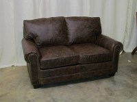 Leather Loveseat In Distressed Brown
