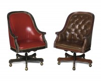 Wood Frame Leather Swivel Tilt Chair Tight Back