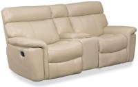 Taupe Leather Entertainment Sofa