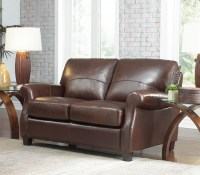 Carlisle Leather Loveseat In Coffee