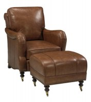 Exceptional Callum Leather Tilt Back Chair U0026 Ottoman