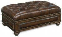 Leather Ottoman With Drawer