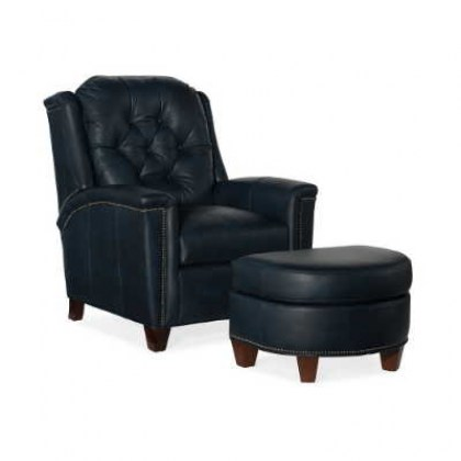Leather Tilt Back Chair and Ottoman