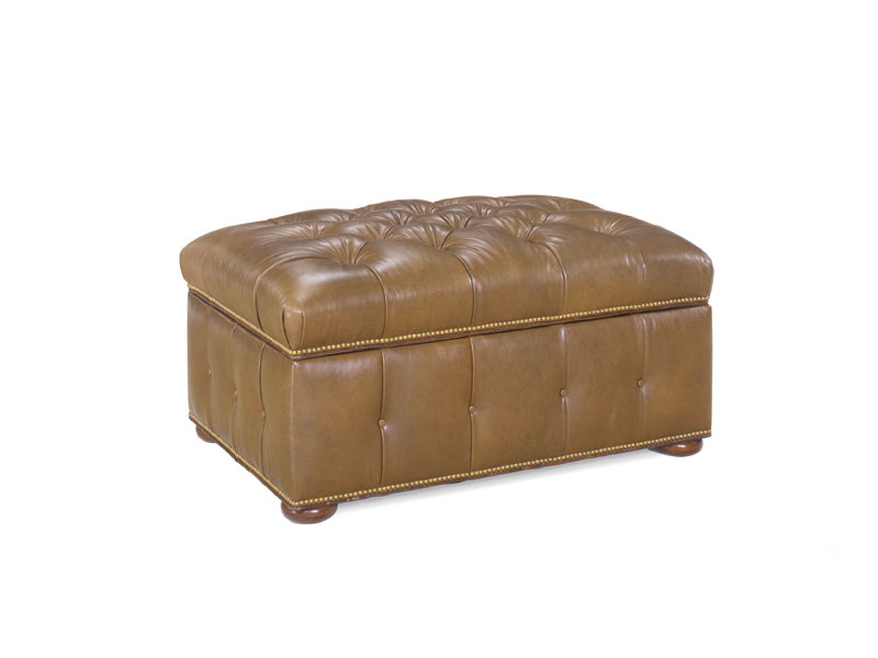 Santa Fe Tufted Top Storage Leather Ottoman