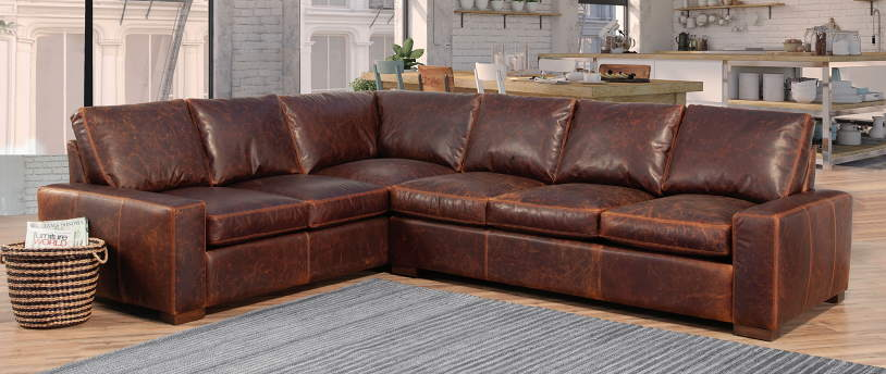 Max Leather Sectional - In Stock