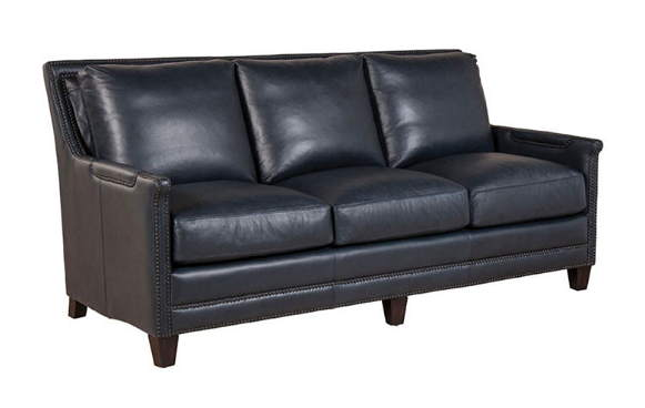 Prescott Leather Sofa In Navy