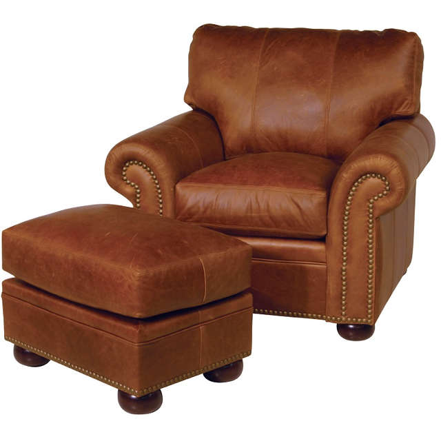 Easton Leather Chair and Ottoman - Brown Lounge Chairs