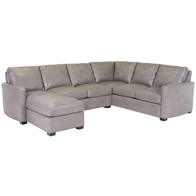 Grey Leather Sectional With Chaise Lounge