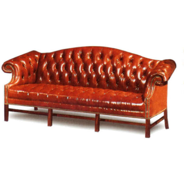 Chippendale Leather Sofa