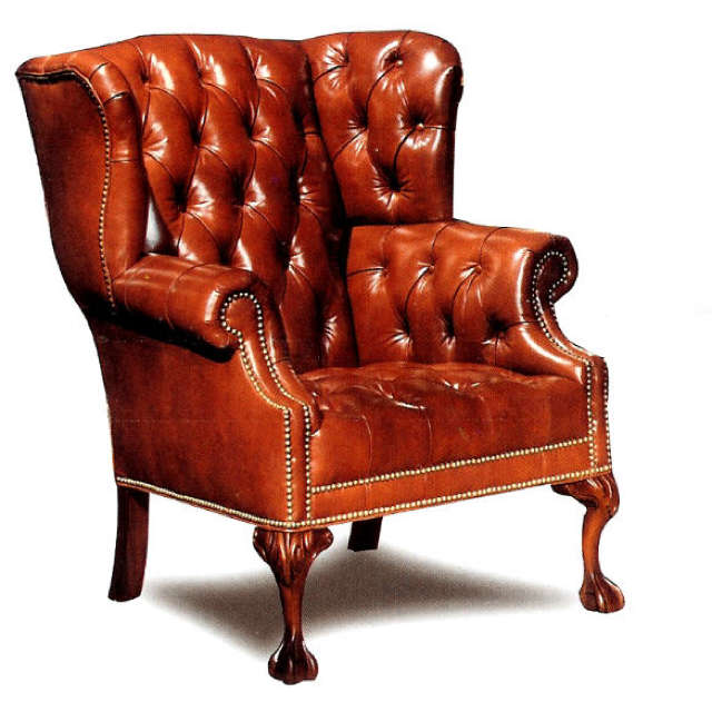 Leather Wing Back Chair - Made in the U.S.A.