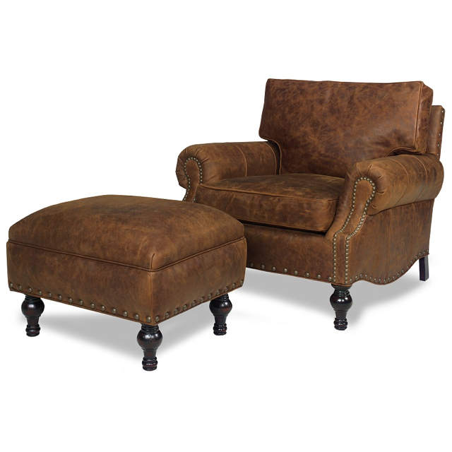 Bronson Leather Chair and Ottoman
