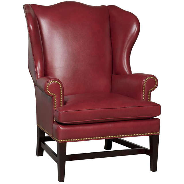 Red Leather Wing Back Chair