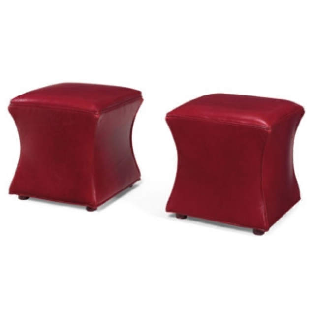 Hourglass Leather Cocktail Ottoman