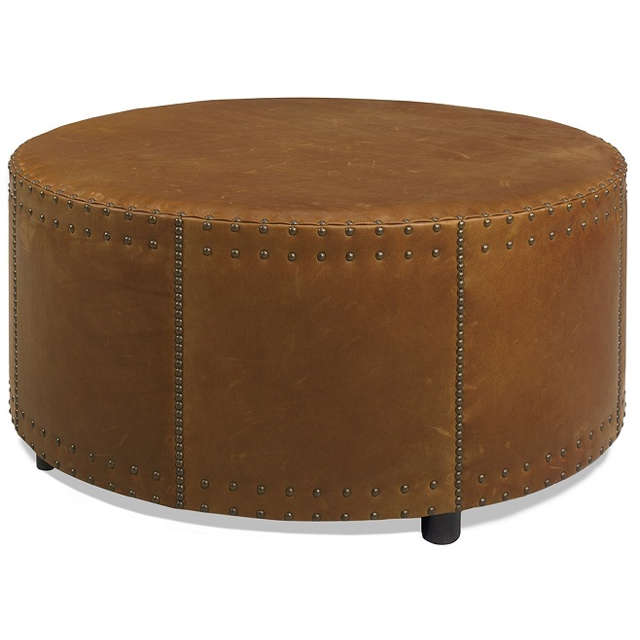 Drum Leather Cocktail Ottoman