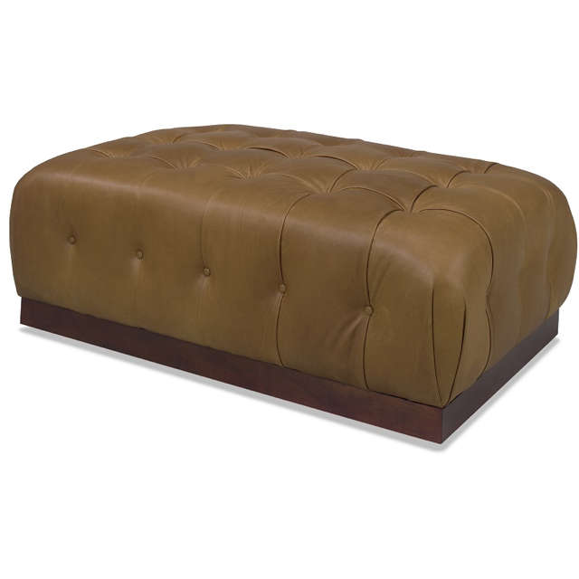 Brown Tufted Leather Cocktail Ottoman
