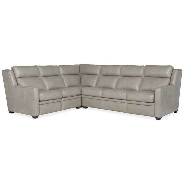Revelin Leather Power Reclining Sectional With Power Headrest