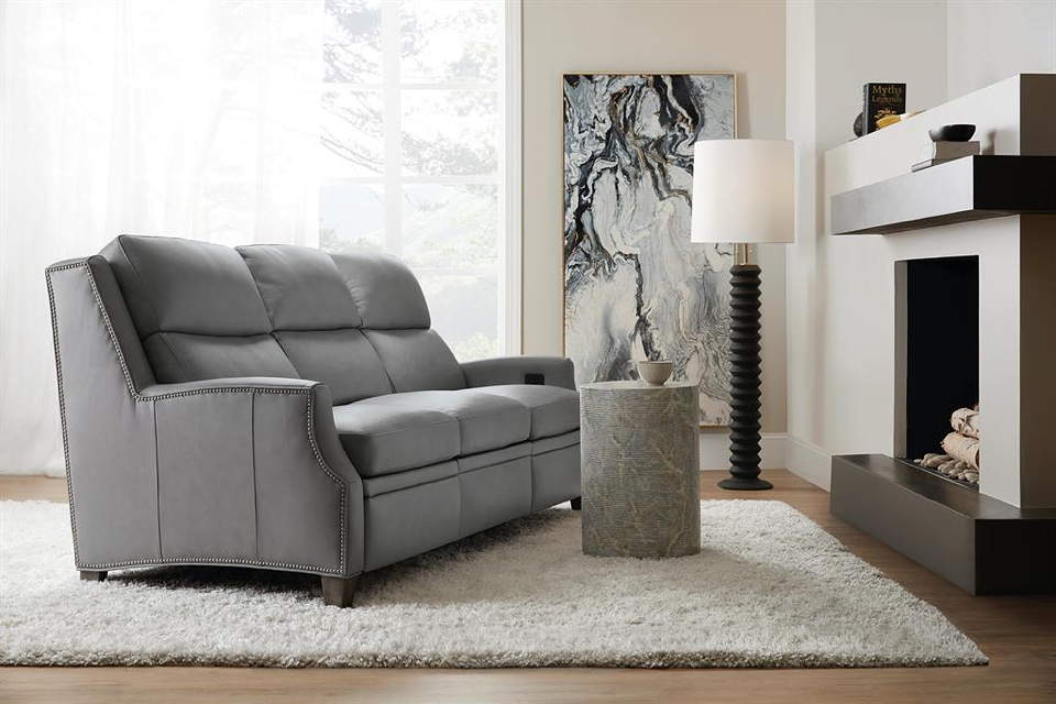 Sylus Leather Power Reclining Sofa With Articulating Headrest