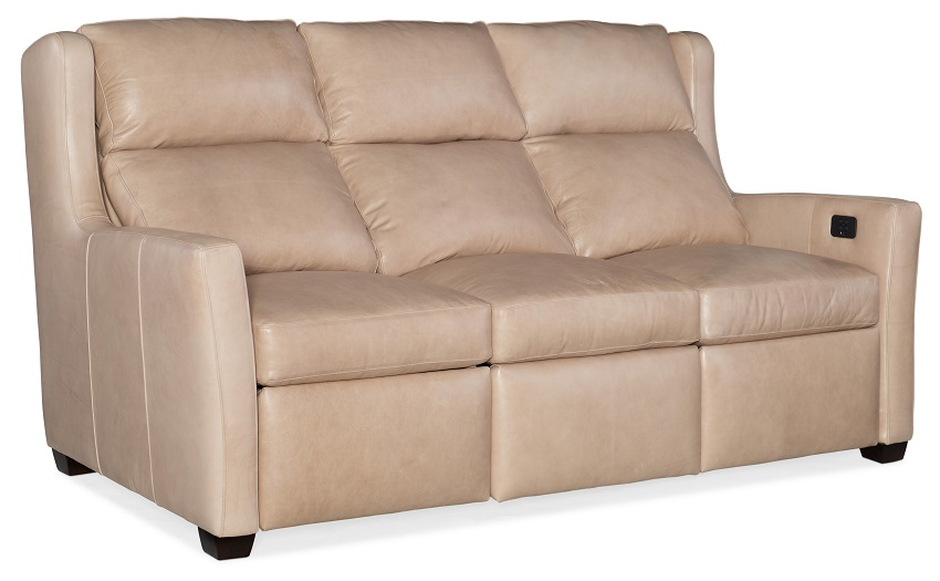 Cane Leather Power Reclining Sofa With Articulating Headrest