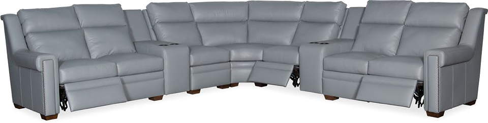 Huntsman Leather Power Reclining Sectional With Articulating Headrest