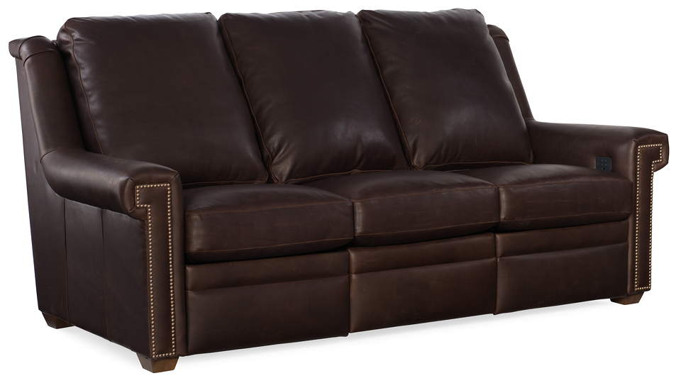 Bilbrook Leather Power Reclining Sofa With Articulating Headrest