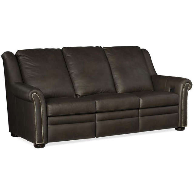 Patriot Leather Power Reclining Sofa With Articulating Headrest