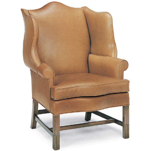 Brown Leather Wing Back Chair