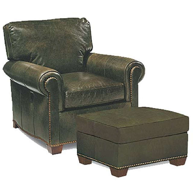 Leather Tilt Back Chair and Ottoman - Made in America