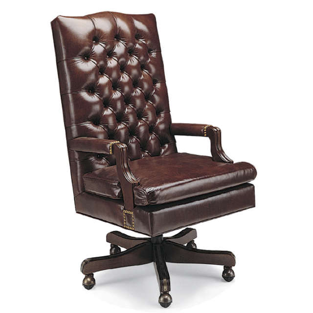 Tufted Leather Swivel Office Chair