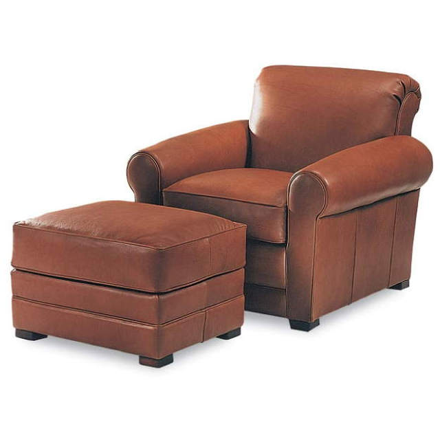 Carson Leather Chair and Ottoman