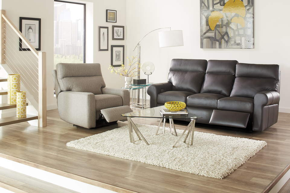 Brooklyn Leather Reclining Sofa By Omnia