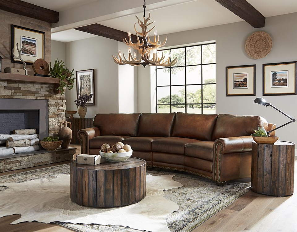 Dominion Leather Four Cushion Conversation Sofa