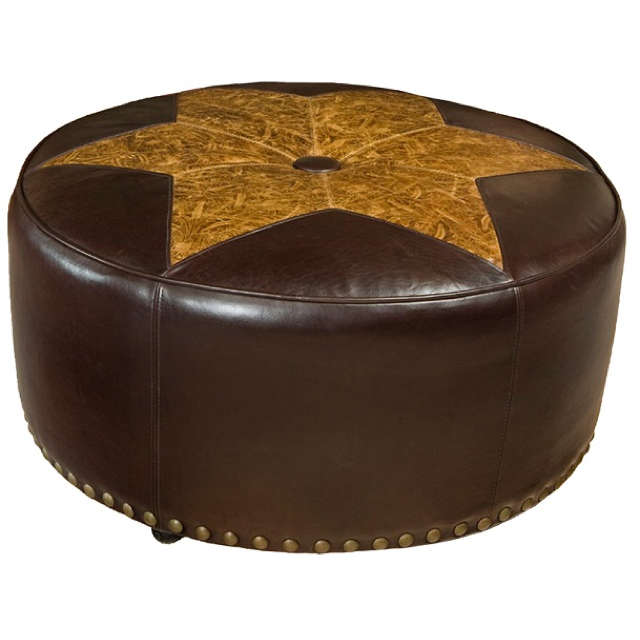Highland Leather Cocktail Ottoman