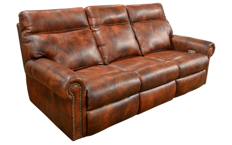Jefferson Leather Power Reclining Sofa With Articulating Headrest