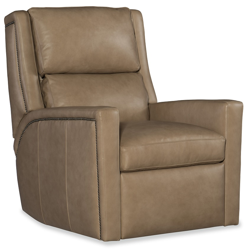 Norman Leather Power Swivel Glider Recliner With Articulating Headrest