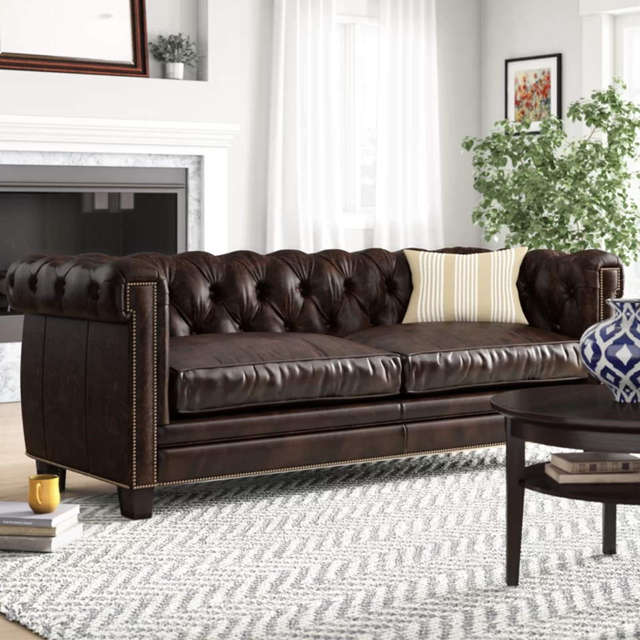 Leather Chesterfield Sofa - In Stock