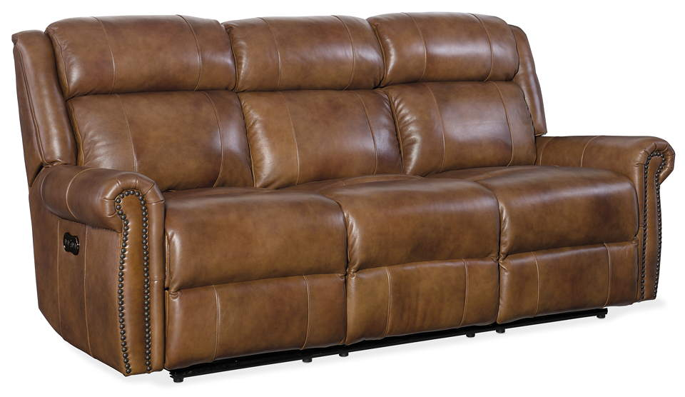 Denny Leather Reclining Sofa with Articulating Headrest