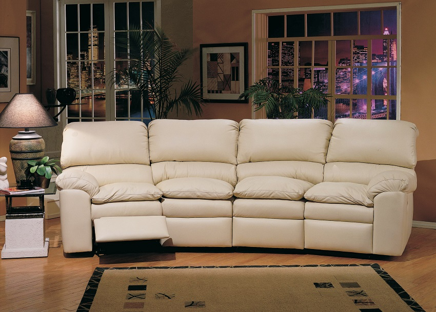 Catera Four Cushion Leather Reclining Conversation Sofa