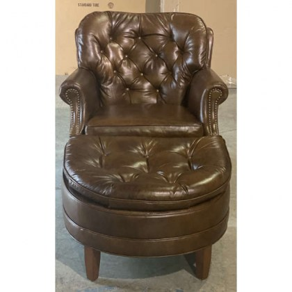 Tufted Leather Chair and Ottoman on Sale
