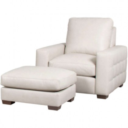 White Leather Chair & Ottoman