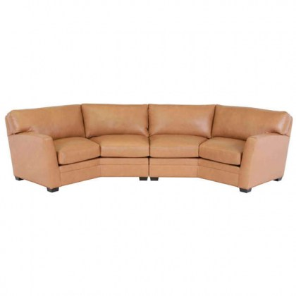 Brown Leather Conversation Sofa