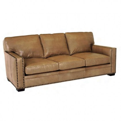 Square Arm Leather Loveseat