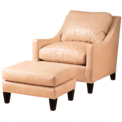 Zack Leather Chair and Ottoman