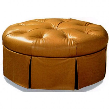 Tufted Leather Cocktail Ottoman