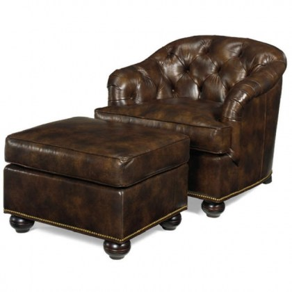 Coleman Leather Tufted Chair and Ottoman