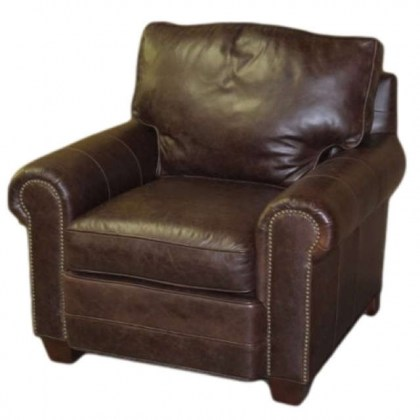 Jackson Leather Chair and Ottoman - Quick Ship