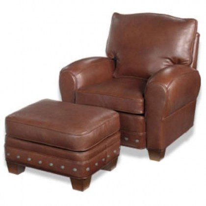 Brown Leather Tilt Back Chair and Ottoman